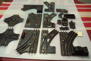 Collection of antique O GAUGE MODEL TRAIN TRACKS AND SWITCHES
