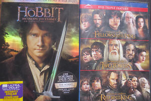 Lord of the Rings and The Hobbit: An Unexpected Journey DVDs