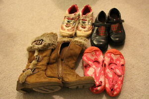 4 Pairs of girls size 11 shoes including fall boots, sneakers