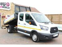 """2017 FORD TRANSIT 350 TDCI 130 L3 H2 LWB 7 DOUBLE CAB """"ONE STOP"""" ALLOY TIPPER DR"""