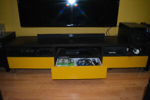 IKEA BESTA TV Bench Black and Yellow