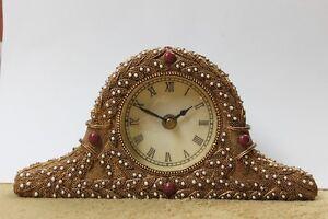 Art Nouveau Style Gilded Desk/Mantel Clock Quartz Ornate Unique