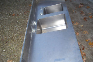 INDUSTRIAL DOUBLE STAINLESS SINK WITH LARGE COUNTER AREA Stratford Kitchener Area image 1