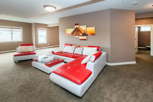 Red/White Leather Sectional, Chair and table for sale