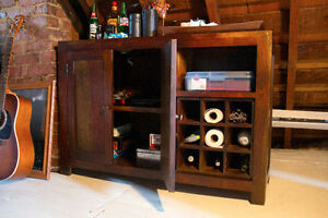 Heavy dark wood cabinet with wine rack (mint condition)