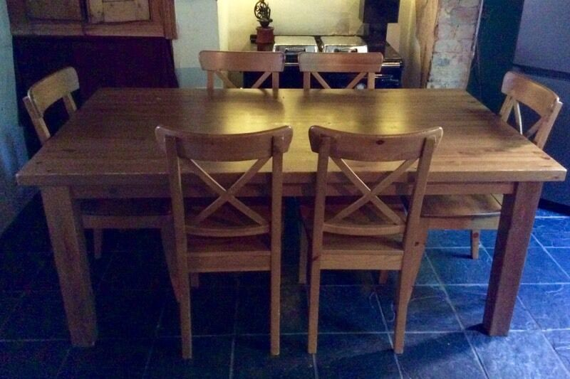 Ikea Forsby Solid Pine 6ft Dining Table Amp 6 Matching