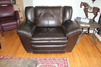 LAZYBOY LEATHER COUCH AND OVERSIZED CHAIR