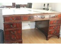 Georgian Style Double Pedestal Antique Looking Desk In Mahogany