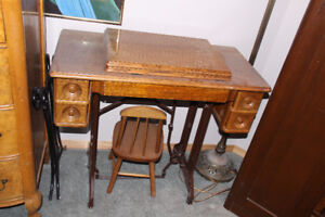 Miscellaneous Antique furniture, pole lamp, sewing machine etc.