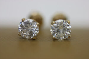 **STUNNING** 14 kt Yellow Gold 1 ct Diamond Earrings (#16446)