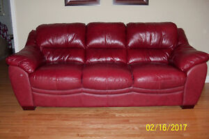 Leather Chesterfield and Matching Love Seat and Chair.