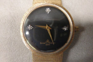 Mens solid 14k gold baume et mercier bracelet watch diamond dial