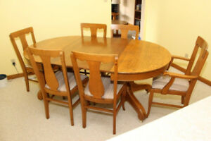 ANTIQUE 8-PC DINING ROOM SET SOLID WOOD $1000