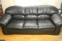 TWO BLACK GENUINE LEATHER SOFAS *PRICE NEGOTIABLE*