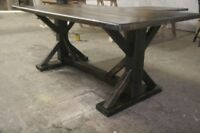 Reclaimed, rustic harvest table.