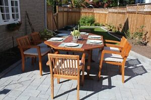 Teak extendable dining table and 6 chairs