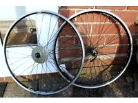 "**SHIMANO / WTB / RIGIDA /SRAM 26"" 8 SPEED MOUNTAIN BIKE WHEELSET WITH QUICK RELEASE SKEWERS**"