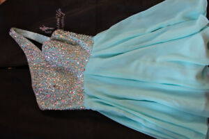 Short light blue prom dress