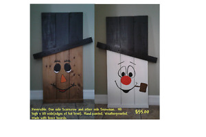 Reversible Scarecrow and Snowman - Halloween and Christmas