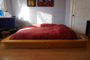 Contemporary Queen Bed Frame Solid Pine Custom Built Low Rider
