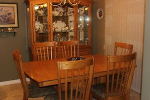 Oak Table Set with Buffet and Hutch