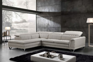 GORGEOUS,STYLISH Leather Sectional with  Adjustable headrests;