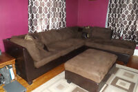 Dark Brown Sectional with Ottoman