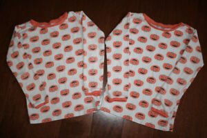 2 Long Sleeve Baby GAP Pyjama Shirts - Pumpkins -5T