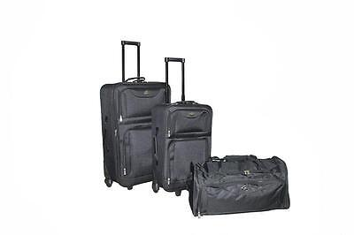 "New 3PC Black Luggage Travel Bag Trolley Suitcase Carrier 25""/21""/21"""