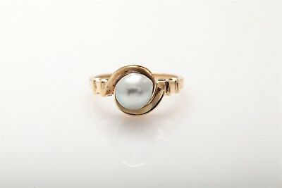 1940s Jewelry Styles and History Antique 1940s 7mm Natural GREY WHITE Pearl 10k Yellow Gold RETRO Ring $165.00 AT vintagedancer.com