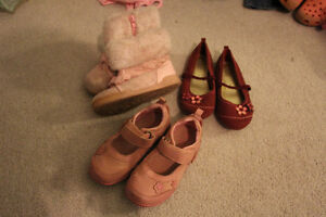 3 Pairs of girls shoes size 9 including boots and dress shoes