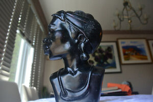 VINTAGE WOMAN African Stone Carved Bust