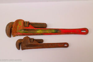 """Set of Vintage Ridgid Pipe Wrenches 18"""" and 10"""" Heravy Duty"""