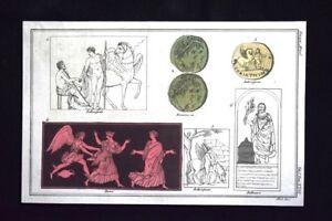 Bellerofonte-Berenice-Incisione-all-039-acquaforte-del-1820-Mitologia-Pozzoli
