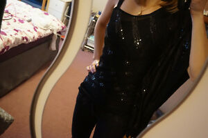 Black sequinned one-shoulder top (new without tag)