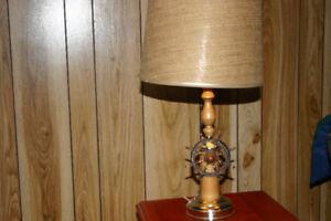 Vintage Wooden Ship Boat Wheel Table Lamp