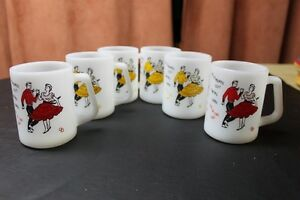 Federal Milk Glass mugs Square Dancing 4 yellow 2 red vintage