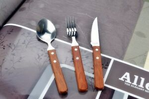 Delicate wood handle Kitchen Flatware Knife Fork Spoon quality Stainless Mirror