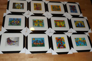 Large collection of  framed native Norval Morrisseau prints
