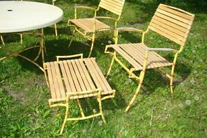 Mid Century Hollywood Regency Bamboo Patio Table & Chair Set Belleville Belleville Area image 3