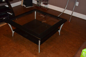 Square Wooden and Glass Coffee Table