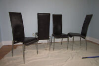 4 chaises en cuir brun / Brown leather chairs