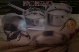PADERNO 7 piece Stainless Steel cookware set BRAND NEW