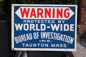 60'S VINTAGE WORLDWIDE BUREAU OF INVESTIGATION SIGN