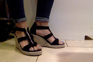 """New With Box!!  Sz 8.5, """"Just Fab"""" black faux-suede wedges"""