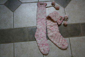 Ladies knee-high cable knit slippers