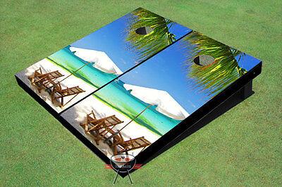 Two Beach Chairs Custom Cornhole Board