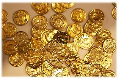 """Aluminum Jingle Coins Belly Dancing Jewelry Craft Costume 9mm ( 3/8"""" ) Goldtone"""