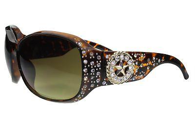 Womens Rhinestone Sunglasses Star Bling Western Cowgirl Tortoise Frame Green Len](Sunglasses Star)