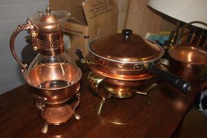 Vintage Copper Items (molds,coffee carafe, fondue pot, basket )